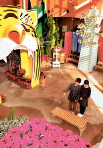 クリスマスらしい花々で彩られた会場=砺波市中村で