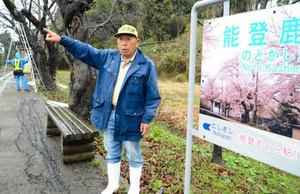 桜の木の冬のライトアップに期待を込める堂前勇次郎さん=のと鉄道能登鹿島駅で