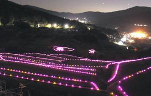 ライトアップされ、幻想的な雰囲気の坂折棚田=恵那市中野方町で