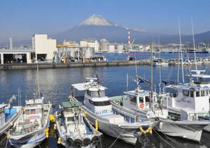 富士山の眺望と名物のしらすが人気の田子の浦港=富士市で