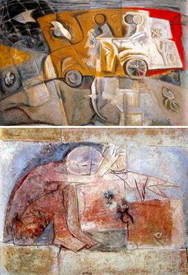 【上】「ポンコツ車を誘導する鳥」(1981年)【下】「少年と鳥」(1957年)=いずれも県提供