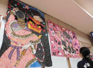 躍動感あふれるちぎり絵作品=飯田市で