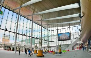 イベントなどの会場としてにぎわい創出が期待されるハピテラス=福井市中央1で