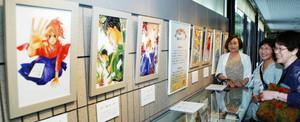 漫画「ちはやふる」の複製原画が並ぶ特別展示=高岡市万葉歴史館で((C)末次由紀/講談社)