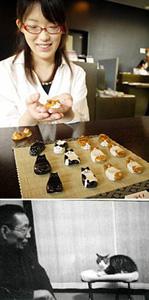 (上)室生家のネコをモデルにしたはし置きと遠藤絢子さん=室生犀星記念館で (下)室生犀星と飼い猫の「カメチョロ」。最も愛した猫とされる=室生犀星記念館提供