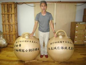 完成した北陸中日夏花火で披露される三尺玉=新潟県加茂市で