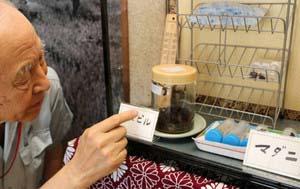 ヤマビルとマダニの生体を展示した特別展=長野市の宮入慶之助記念館で