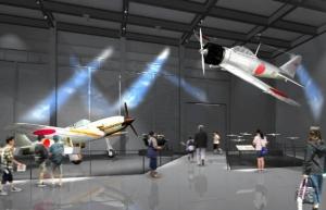 ゼロ戦の原型になった十二試艦上戦闘機の実寸大模型(右)と飛燕の実機の展示イメージ図(県提供)