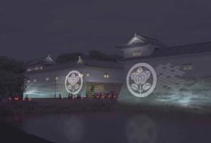 彦根城佐和口多聞櫓のライトアップイメージ=彦根商工会議所提供