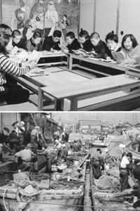 (上)日曜学校での子どもたちへの布教(下)活気を見せる漁港=いずれも昭和30年代、旧能都町宇出津で