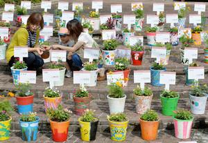 さまざまなデザインの植木鉢が展示される会場=甲賀市信楽町で
