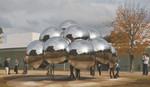 公開が始まった「球体のパビリオン『まる』」=いずれも金沢21世紀美術館で