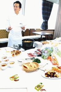 試食会に出されたカンカン野菜をふんだんに使った料理=富山市新富町のエクセルホテル東急で