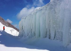 山上公園に完成した氷瀑=菰野町の御在所岳で(御在所ロープウエイ提供)