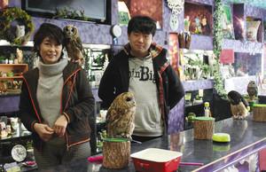 フクロウと触れ合えるカフェを始める林和美さん(左)と拓哉さん親子