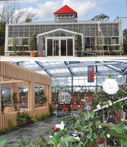(上)18日にオープンする「愛と和花のギャラリーののいち椿」(下)観賞しやすいようひな壇のような棚に展示されるツバキの鉢。左はくつろぎスペース=いずれも野々市市中央公園で