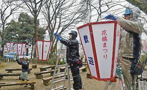 まつりに向け、次々と設置されるぼんぼり=敦賀市の金崎宮で
