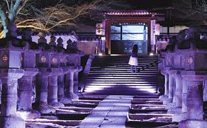 ライトアップされ、幻想的な雰囲気となった境内=大津市園城寺町の三井寺で