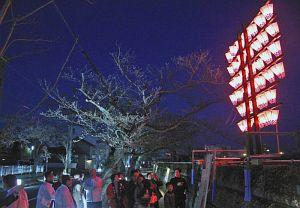 ぼんぼりに明かりがともされた「みなと竿燈」を眺める来場者たち=福井市照手2で