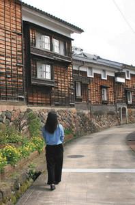 レトロな雰囲気が味わえる善徳寺から続く今町通り=いずれも富山県南砺市で