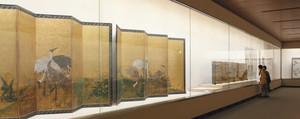 俵屋宗雪の「群鶴図」など貴重な作品が並ぶ=県立美術館で
