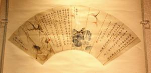 科挙の受験者のために、友人4人が合作したとみられる扇の掛け軸=いずれも東近江市五個荘竜田町の観峰館で