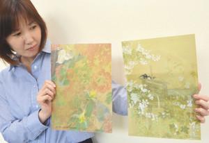 石崎光瑶の代表作「燦雨」(左)と「筧」(右)を題材にした記念クリアファイル=富山県南砺市福光美術館で