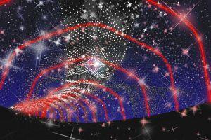 花の小径に設置されるガーネットを表現した光のトンネルのイメージ図