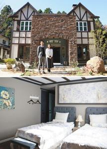 【上】宿泊施設の完成を喜ぶ久保砂由美さん(右)と永井一博さん【下】こだわりの家具で構成された客室=小松市瀬領町で