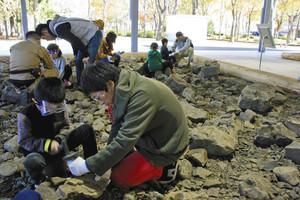 力を合わせて化石発掘に挑戦する家族連れ