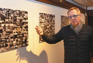 三井寺で国交100周年関連プロジェクト「無限に繋がる東西」を開くヤニツキさん=三井寺観音堂書院で
