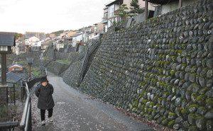 坂の町と呼ばれるとあって町並みは大きな石垣があったりと変化に富んでいる=いずれも富山市八尾町で
