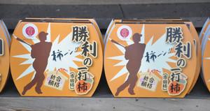 勝利の一打柿のパッケージ=松川町の菅原神社で