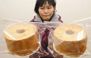 しっとり、もっちりとした食感が特徴の丸いもシフォンケーキ=能美市大成町で
