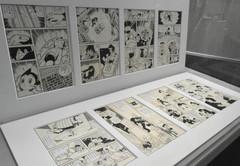 直筆原稿の複製も展示されている=浜松市中区で