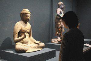公開されている阿弥陀如来坐像=小浜市の県立若狭歴史博物館で