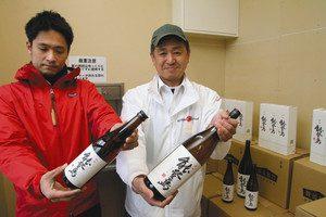 道の駅に届いた能登島産の酒「能登島」=七尾市能登島向田町で