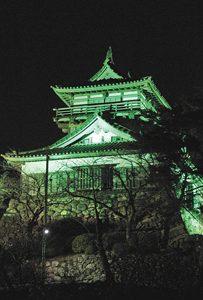 世界緑内障週間に合わせ緑色のライトで浮かび上がる丸岡城=坂井市丸岡町で