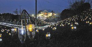 1万5500個のLED電球が彩る「水仙岬のかがやき」=越前町の越前岬水仙ランドで