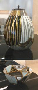 (上)高田焼と輪島塗が融合した茶入れ (下)陶磁器と輪島塗の破片をつなぎ合わせた茶わん「繕桜」=輪島市河井町で