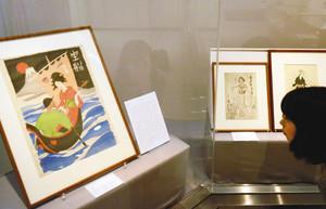 夢二の木版画の傑作と言われる「宝船」=金沢湯涌夢二館で