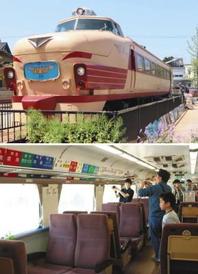 (上)大規模な修復を終えたボンネット型特急車 (下)両号車案内板などが展示されている車内=いずれも石川県小松市土居原町で