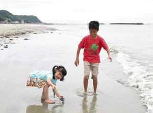 波打ち際で遊ぶ子どもたち=南知多町山海で