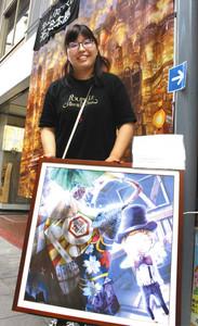 「えんとつ町のプペル」を題材にしたパネル展の開催に尽力した八木さん=東近江市八日市本町の本町商店街で