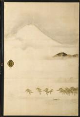 狩野養信「富士三保松原図」(4枚組みの1部)=県富士山世界遺産センターで