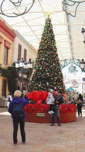 パークに登場した高さ7メートルのクリスマスツリー=志摩市の志摩スペイン村で