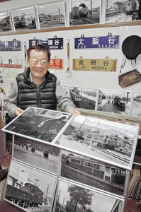 福井県で廃止された鉄道路線の写真展を開いている西脇恵さん=金沢市東力の鉄道カフェ「かがやき」で