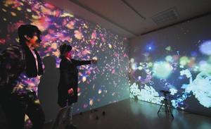 コンピューターを駆使した映像が広がる「現代美術園」。入場者の動きに応じて変化する=岐阜市柳ケ瀬通の柳ケ瀬GomywayGallery現代美術園で