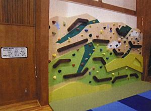 新設した遊具の一つ「クライミングウォール」=射水市の「遊ぼ~館」で