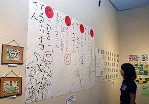 小学生が蚕の様子を描いたカルタや絵手紙、観察記録などが並ぶ会場=駒ケ根シルクミュージアムで